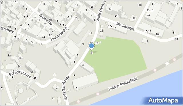Toruń, Wola Zamkowa, 8, mapa Torunia