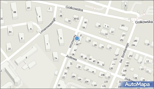 Warszawa, Woziwody, 44, mapa Warszawy