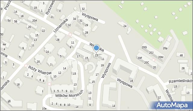 Warszawa, Wolińska, 13, mapa Warszawy