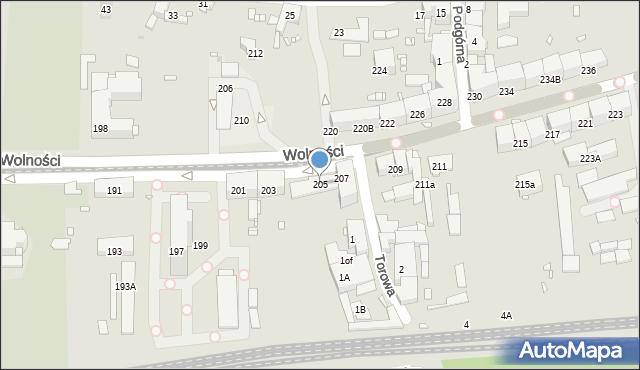Zabrze, Wolności, 205, mapa Zabrza