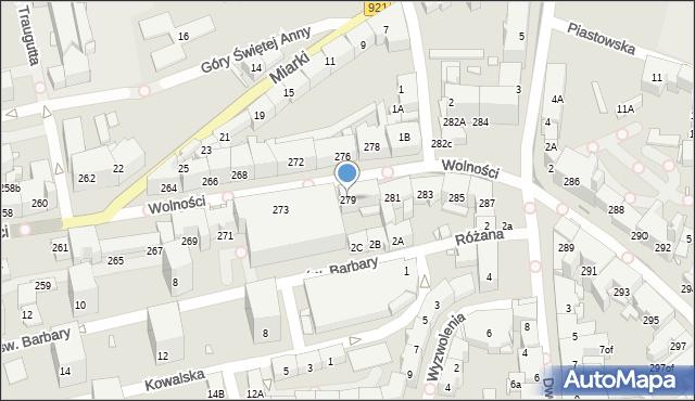 Zabrze, Wolności, 279, mapa Zabrza