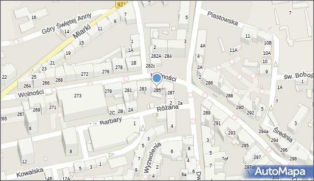 Zabrze, Wolności, 285, mapa Zabrza