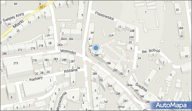 Zabrze, Wolności, 286, mapa Zabrza