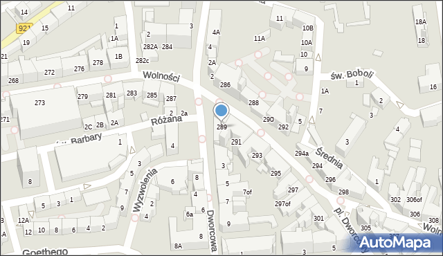 Zabrze, Wolności, 289, mapa Zabrza