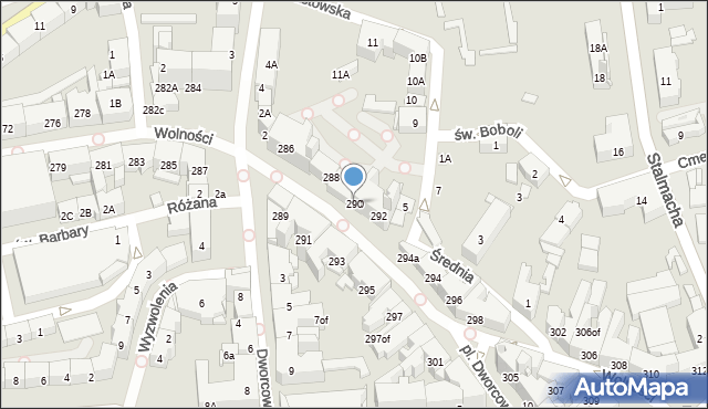Zabrze, Wolności, 290, mapa Zabrza