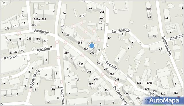 Zabrze, Wolności, 292, mapa Zabrza