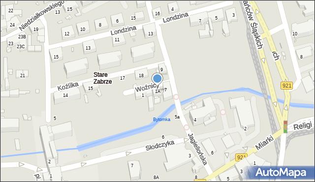 Zabrze, Woźnicy Jana, 1A, mapa Zabrza