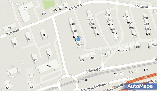 Zabrze, Wolności, 514, mapa Zabrza
