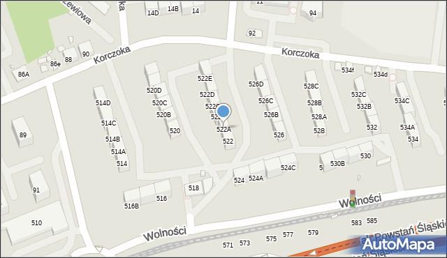 Zabrze, Wolności, 522A, mapa Zabrza