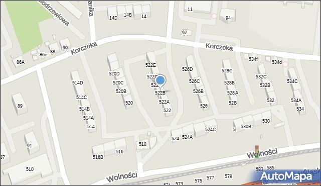Zabrze, Wolności, 522B, mapa Zabrza
