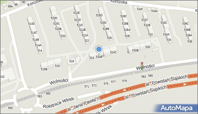 Zabrze, Wolności, 524A, mapa Zabrza