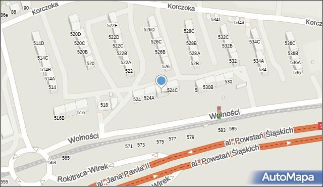Zabrze, Wolności, 524B, mapa Zabrza