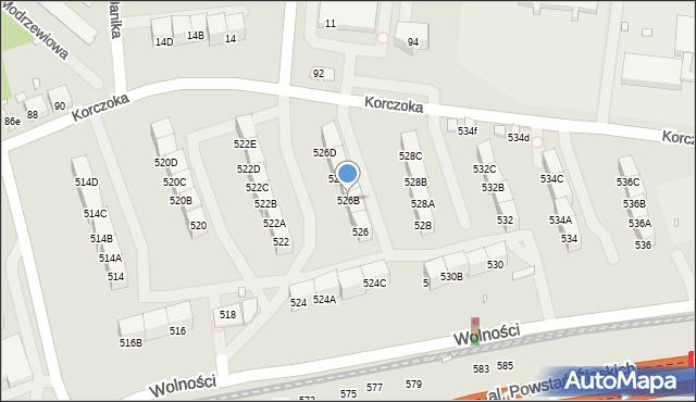 Zabrze, Wolności, 526B, mapa Zabrza