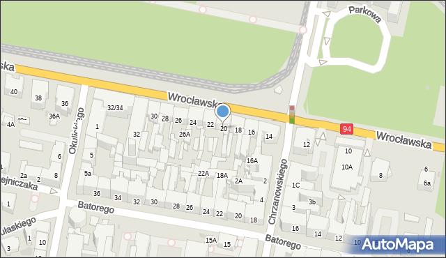 Bytom, Wrocławska, 20, mapa Bytomia