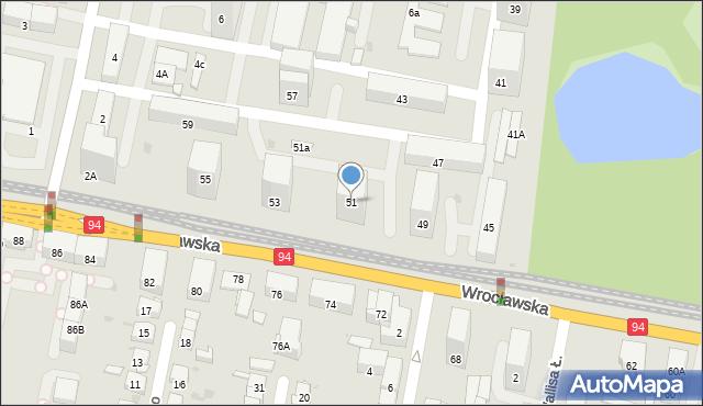Bytom, Wrocławska, 51, mapa Bytomia