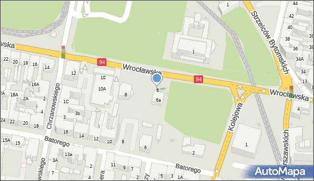 Bytom, Wrocławska, 6, mapa Bytomia