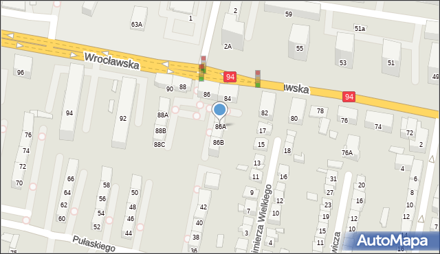 Bytom, Wrocławska, 86A, mapa Bytomia