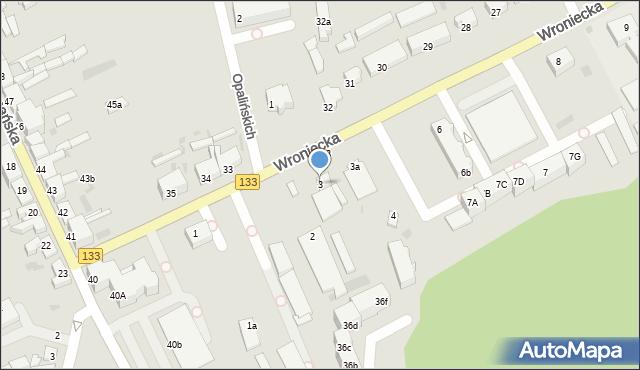 Sieraków, Wroniecka, 3, mapa Sieraków