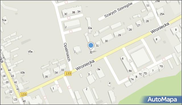 Sieraków, Wroniecka, 32, mapa Sieraków