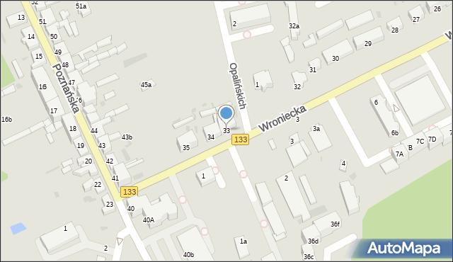 Sieraków, Wroniecka, 33, mapa Sieraków