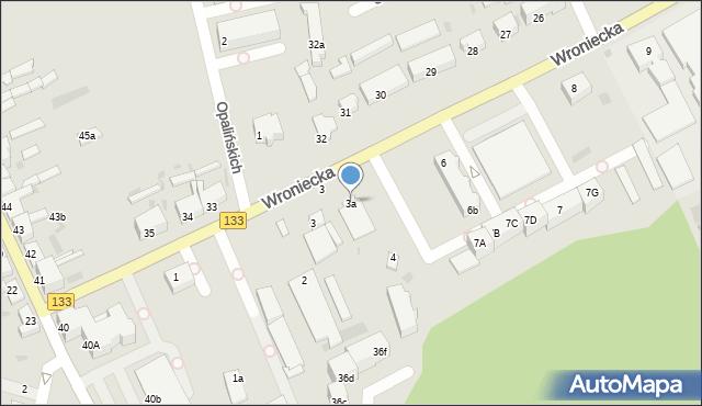 Sieraków, Wroniecka, 3a, mapa Sieraków