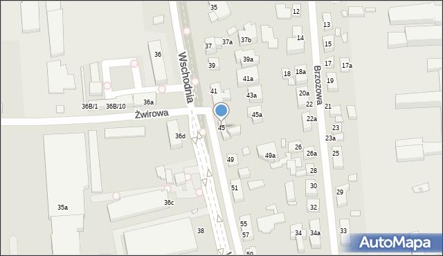 Toruń, Wschodnia, 45, mapa Torunia