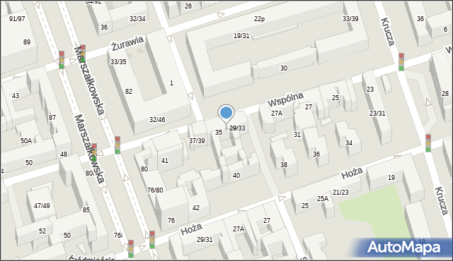 Warszawa, Wspólna, 34, mapa Warszawy