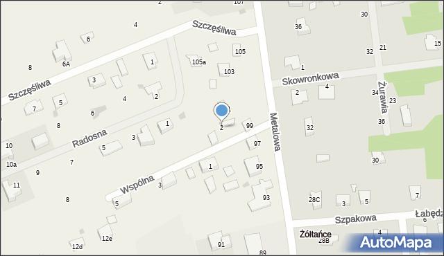 Żółtańce-Kolonia, Wspólna, 2, mapa Żółtańce-Kolonia