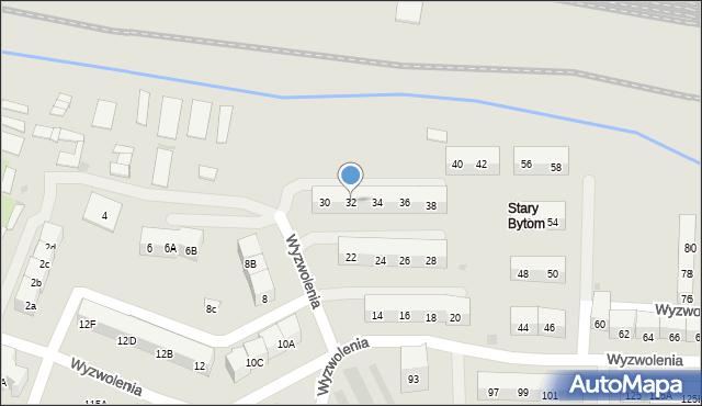 Bytom, Wyzwolenia, 32, mapa Bytomia
