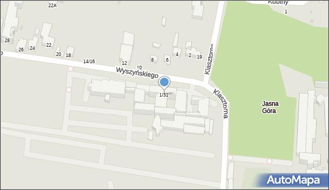 Częstochowa, Wyszyńskiego Stefana, ks. kard., 1/31, mapa Częstochowy