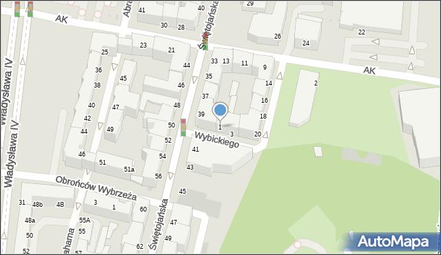 Gdynia, Wybickiego Józefa, gen., 1, mapa Gdyni