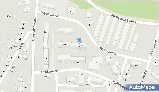 Łazy, Wyzwolenia, 6A, mapa Łazy