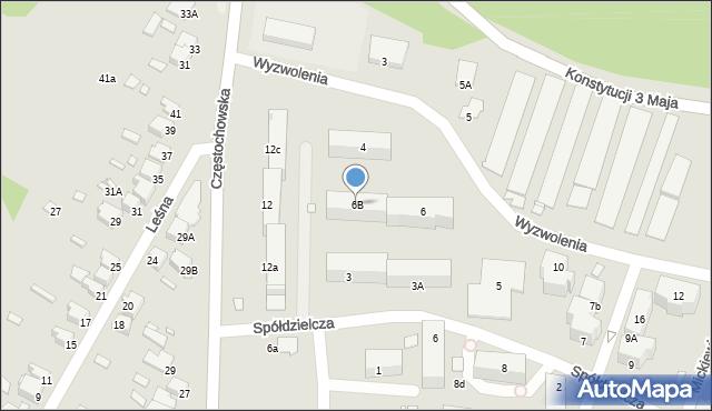Łazy, Wyzwolenia, 6B, mapa Łazy