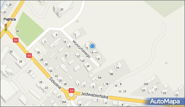 Piątnica Poduchowna, Wyszyńskiego Stefana, ks. kard., 7, mapa Piątnica Poduchowna