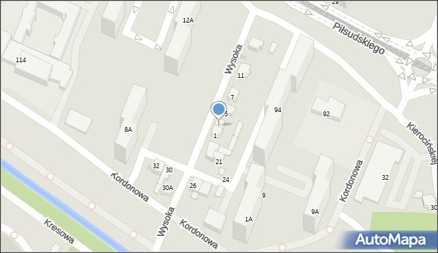 Sosnowiec, Wysoka, 3, mapa Sosnowca