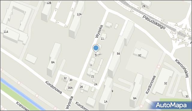 Sosnowiec, Wysoka, 5, mapa Sosnowca