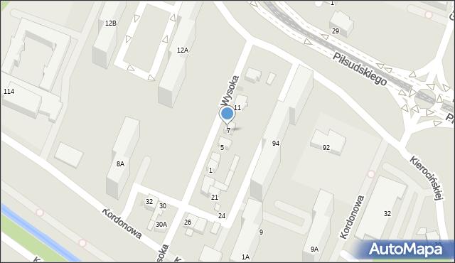 Sosnowiec, Wysoka, 7, mapa Sosnowca