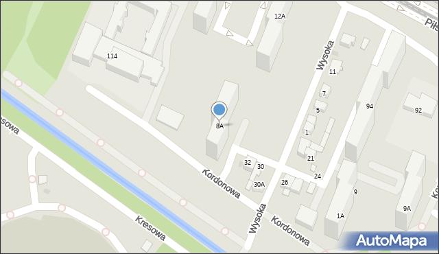 Sosnowiec, Wysoka, 8A, mapa Sosnowca
