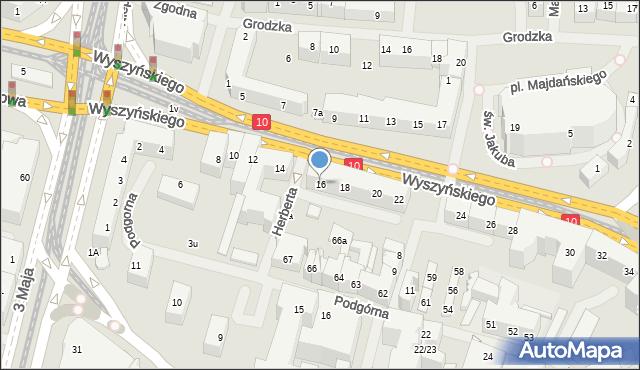 Szczecin, Wyszyńskiego Stefana, ks. kard., 16, mapa Szczecina