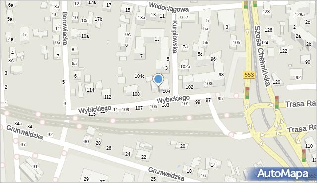 Toruń, Wybickiego Józefa, gen., 106, mapa Torunia