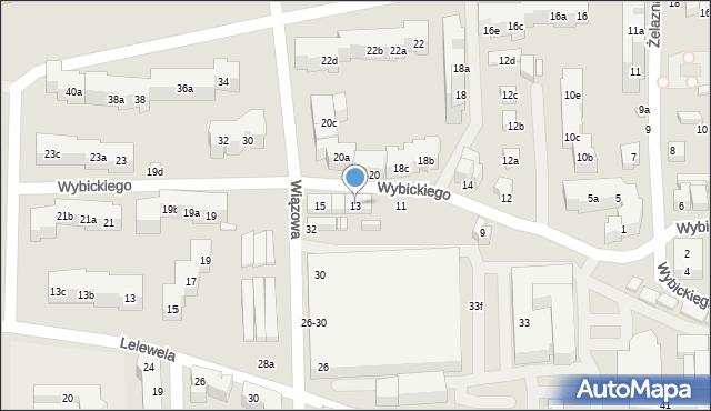 Toruń, Wybickiego Józefa, gen., 13, mapa Torunia
