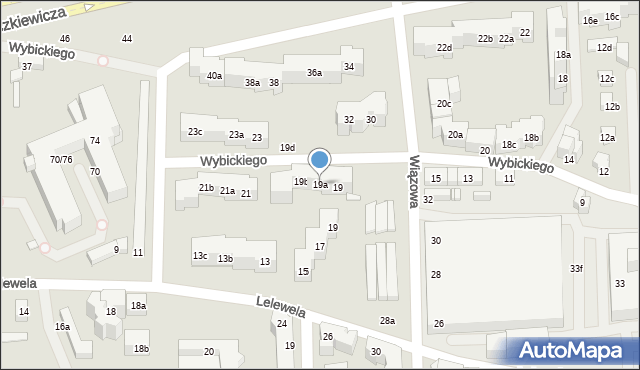 Toruń, Wybickiego Józefa, gen., 19a, mapa Torunia