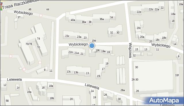 Toruń, Wybickiego Józefa, gen., 19c, mapa Torunia