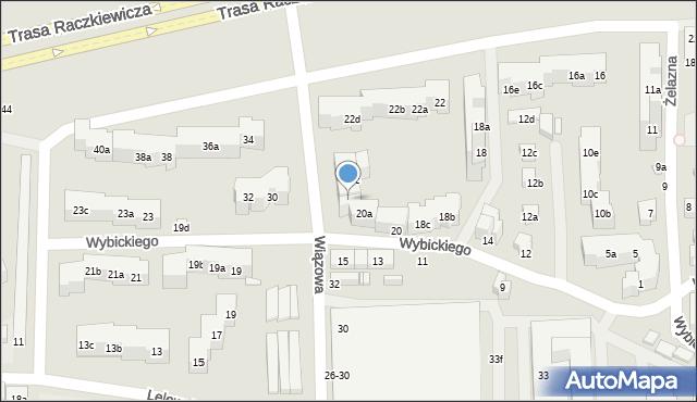 Toruń, Wybickiego Józefa, gen., 20b, mapa Torunia