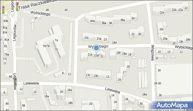 Toruń, Wybickiego Józefa, gen., 21a, mapa Torunia