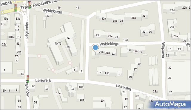 Toruń, Wybickiego Józefa, gen., 21c, mapa Torunia