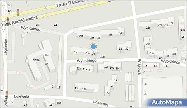 Toruń, Wybickiego Józefa, gen., 23, mapa Torunia