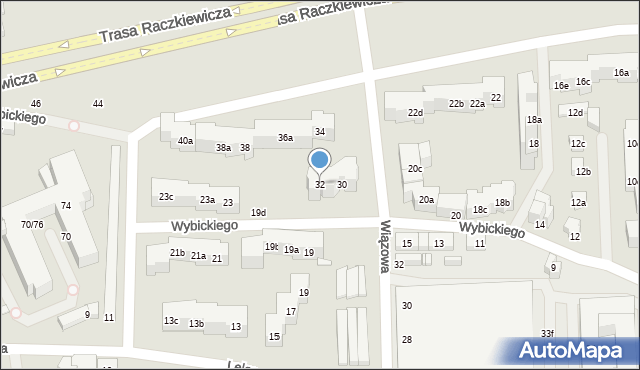 Toruń, Wybickiego Józefa, gen., 32, mapa Torunia