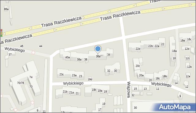 Toruń, Wybickiego Józefa, gen., 36a, mapa Torunia