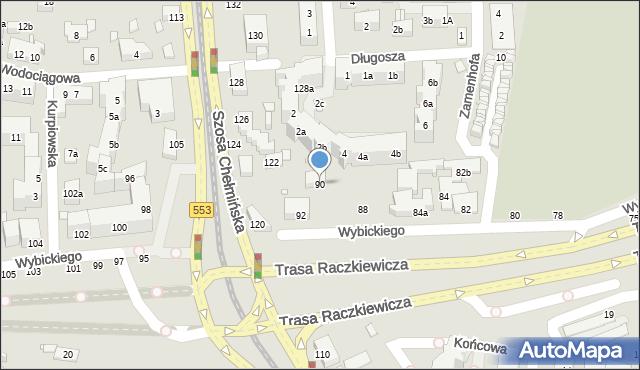 Toruń, Wybickiego Józefa, gen., 90, mapa Torunia